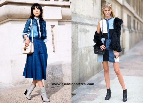 yamalı kot elbise patchwork jean elbise kadın elbise modelleri_mini
