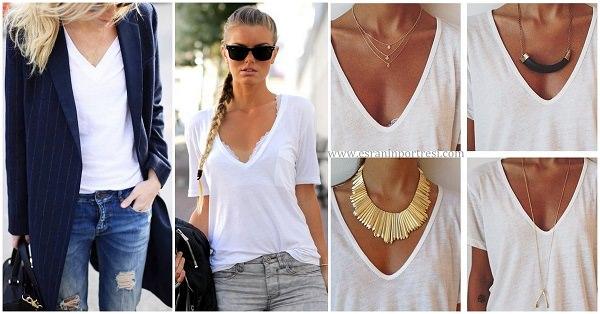 1 V yakalı beyaz tişört_mini