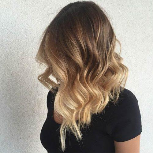 Sarı ombre lob saç modeli