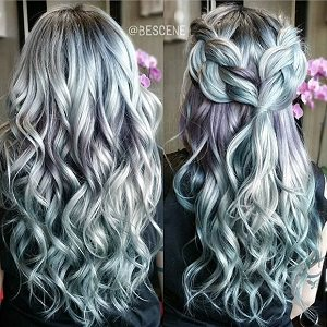 Silver purple ombre hair