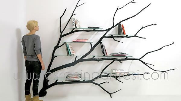 2 ev icin dekorasyon agac dallarindan tasarim kitaplik dekoratif kitaplik_mini