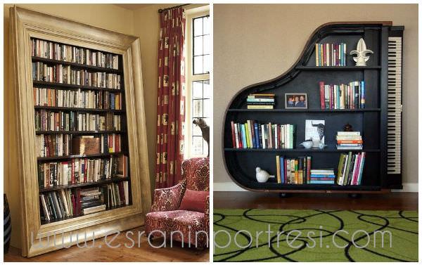 5 ev dekorasyonu tasarim piyano kitaplik dekoratif kitap rafi cerceveden kitaplik_mini