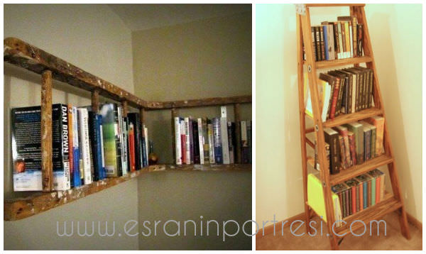 6 ev dekorasyonu tasarim tahta merdivenden kitaplik dekoratif kitap rafi_mini