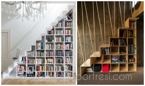 7 ev dekorasyonu tasarim merdiven alti kitaplik dekoratif kitap rafi_mini