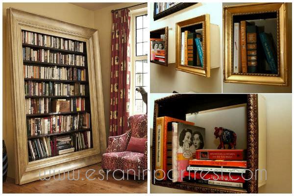9 ev icin dekorasyon yeniden degerlendirme kendin yap diy dekoratif kitaplik resim cercevesinden kitaplik_mini