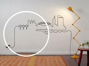 kablolar ile dekoratif suslemeler duvar sanati on_mini