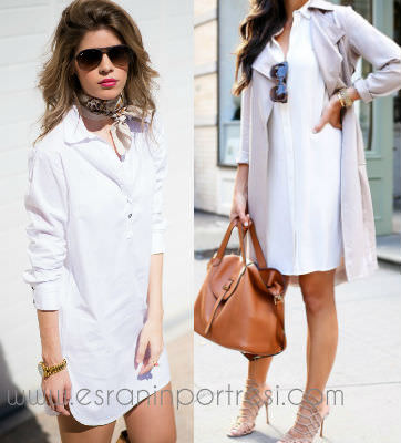 1 beyaz gomlek elbise ile stil onerileri_mini