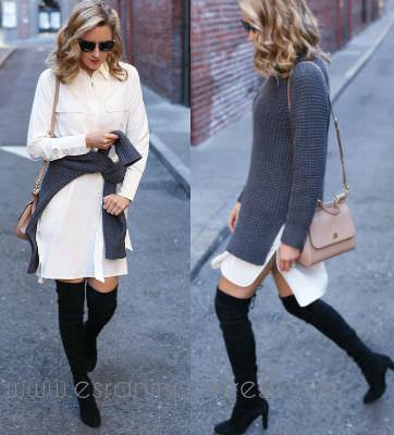 3 beyaz gomlek elbise ile stil onerileri_mini